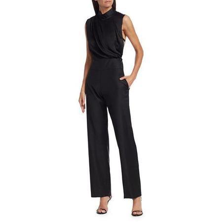 Carolina Ritzler Fabienne Satin Jumpsuit - Black