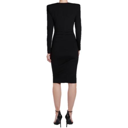 CL Studio Long Sleeve V Neck Jersey Dress - black
