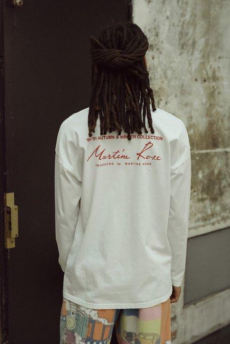 Martine Rose Logo Funnel Neck Long Sleeve Tee - white