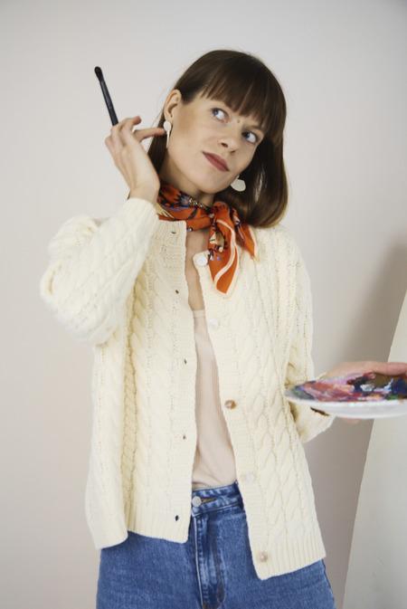 Yuka Paris Maena Chunky Knit Cardigan - Ivory