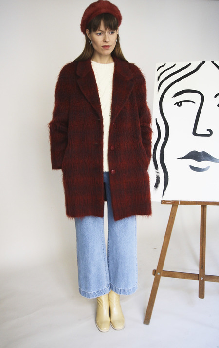 Vintage 80s Mohair Winter Coat - Burgundy