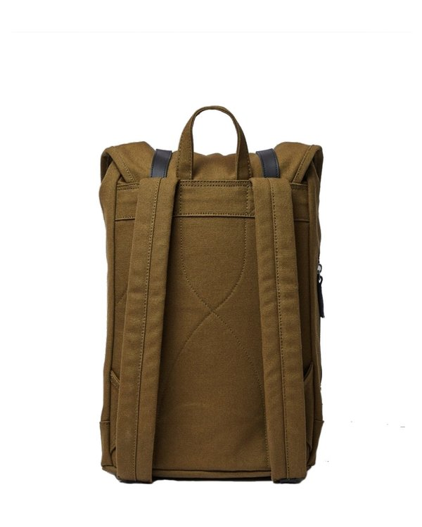 Sandqvist Stig Backpack with Black Leather - Dark Olive