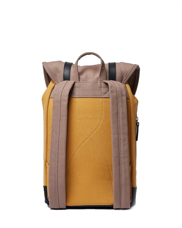 Sandqvist Stig Backpack with Black Leather - Multi Earth Brown/Honey Yellow/Navy