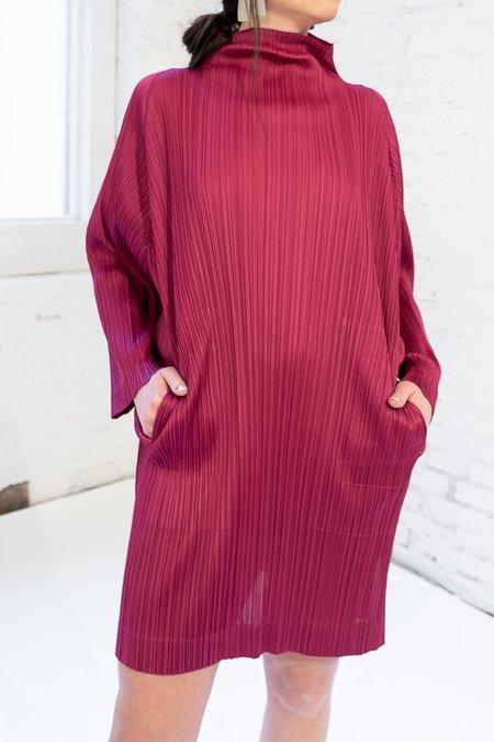PLEATS PLEASE ISSEY MIYAKE High Neck Tunic Dress - Berry