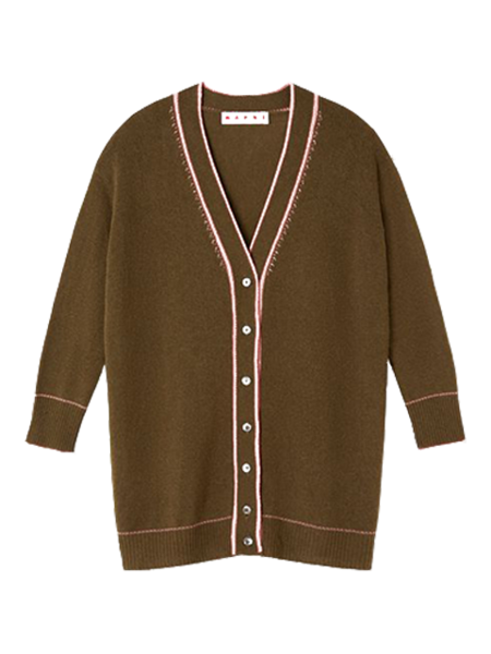 MARNI Long Sleeve Embroidered Cashmere Sweater - Musk