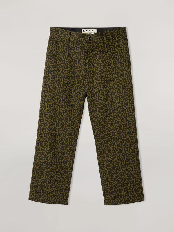 Marni Heavy Cotton Cropped Pants - Camo Cells