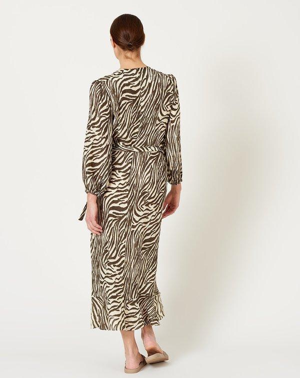 No.6 Noma Wrap Dress - Coffee/Cream Zebra
