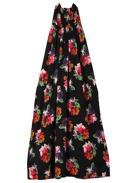 ARIAS Gathered Neck Dress - Black Floral