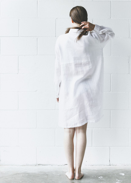 The Sleep Shirt - Button Down Sleep Shirt in White Linen
