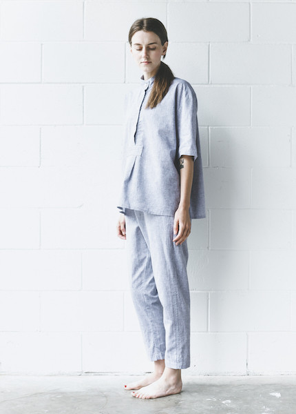 The Sleep Shirt - Short Sleeve Cropped in Linen Chambray