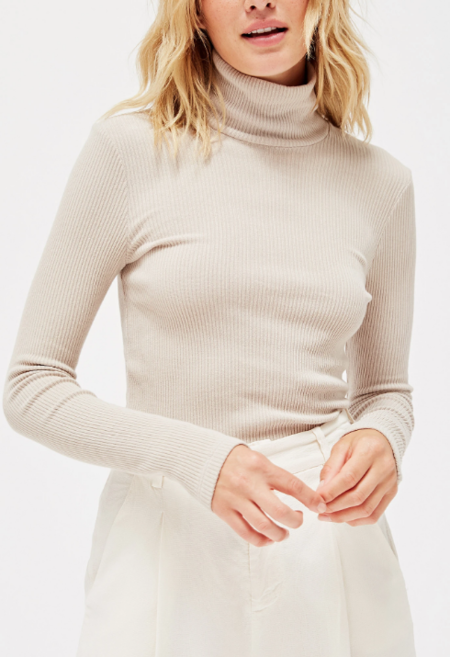 Lacausa Rib Sweater Turtleneck - Oat