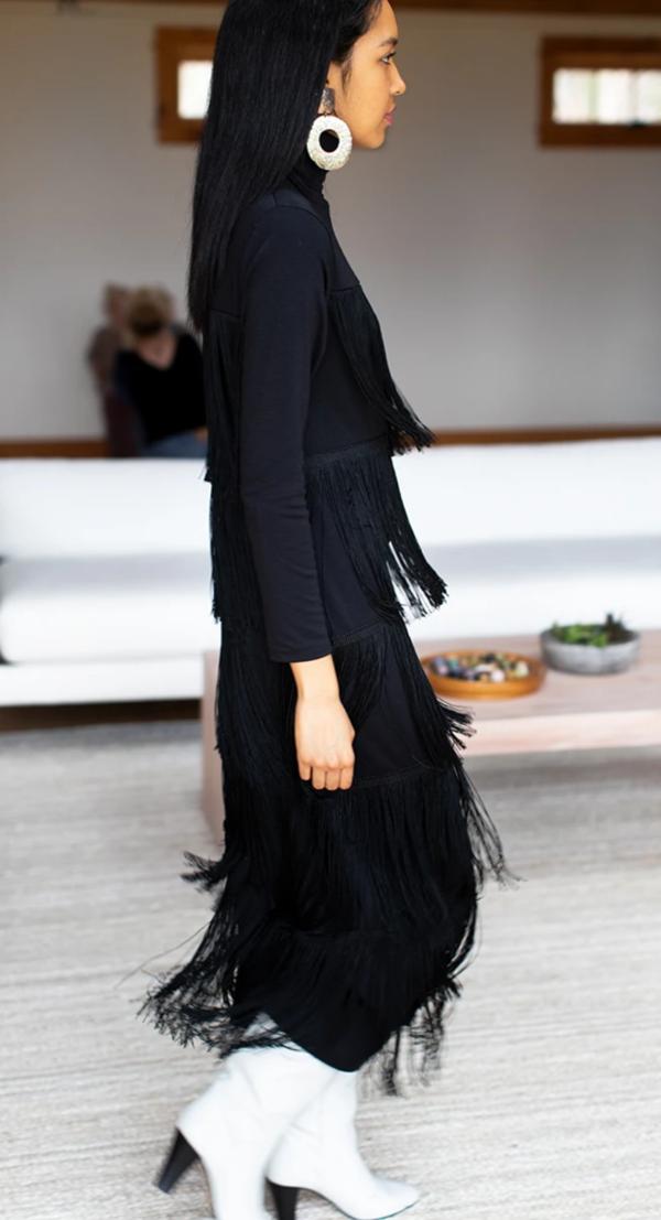 Emerson Fry Fringe Midi Dress - Black
