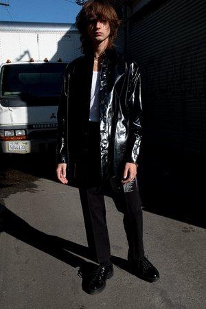 Yang Li Vinyl Oversized Shirt - Black