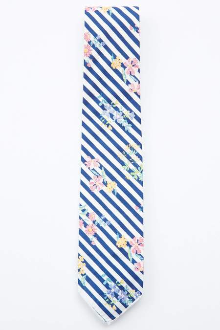Engineered Garments Cotton Neck Tie - Navy Floral Stripe Print