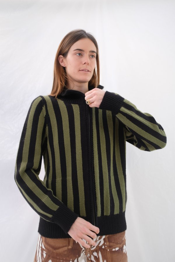 Beklina Knit Bomber Jacket - Avocado/Black