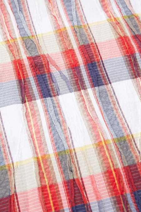 Engineered Garments Cotton Crepe Long Scarf - Red/White Check