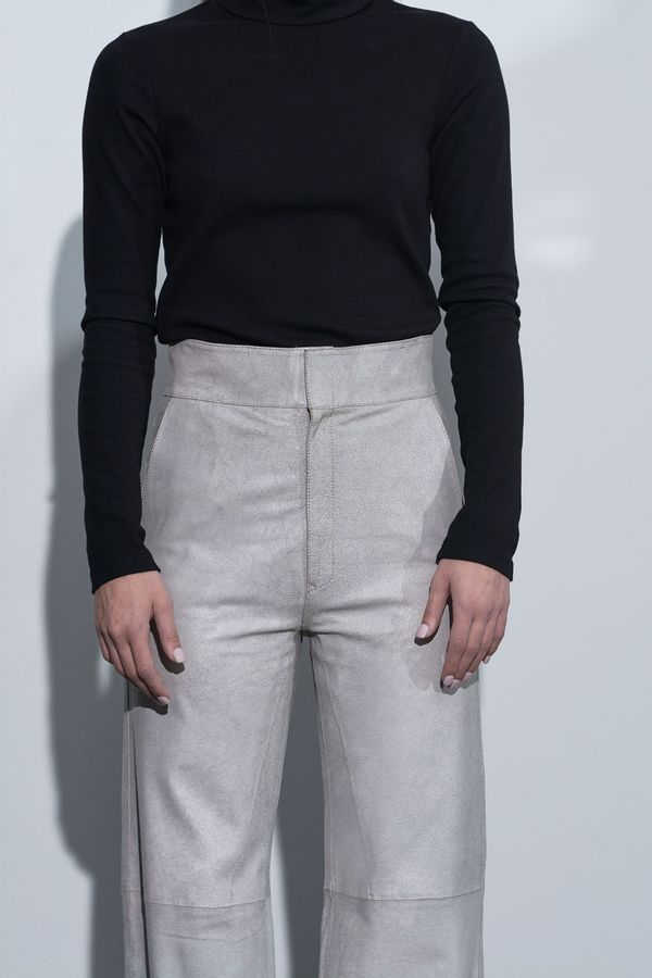 Vanderwilt Highwaisted Leather Pant - Chalk Crackle
