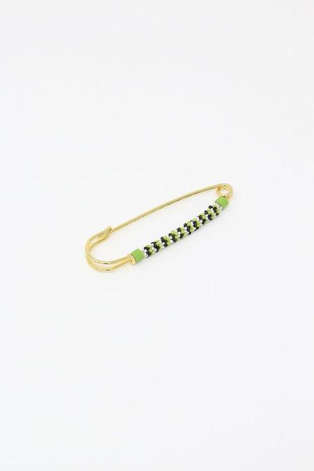 Robin Mollicone Beaded Safety Pin - Green/Black/White Stripe