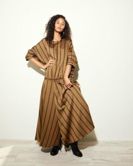 Kamperett Tux Dress - Brown Stripe