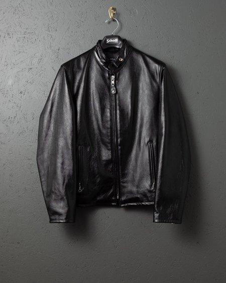 Schott Cafe Racer Leather Jacket - Black