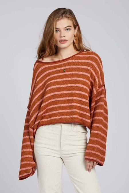 Free People Striped Bardot Sweater
