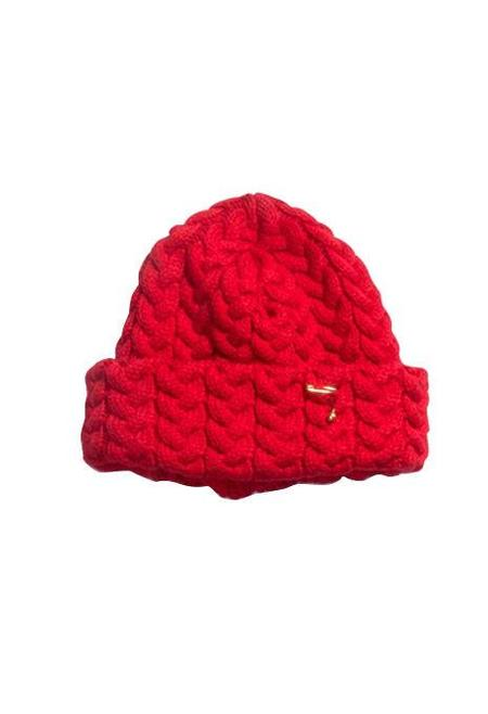 BLUE BLUE JAPAN Chunky Cable Knit Hat - Red