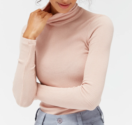 LACAUSA Sweater Ribbed Turtleneck - Slipper