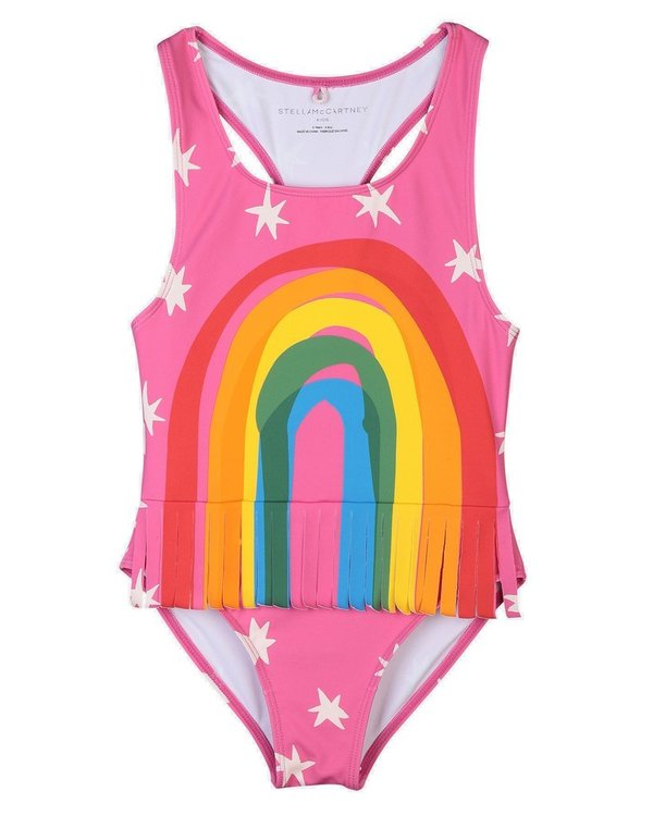 Kids Stella McCartney Rainbow One-piece with Fringes