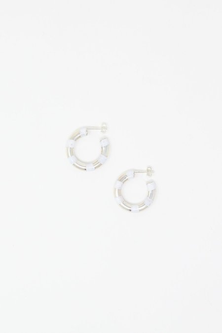 Abby Carnevale Striped Hoops - Silver/White