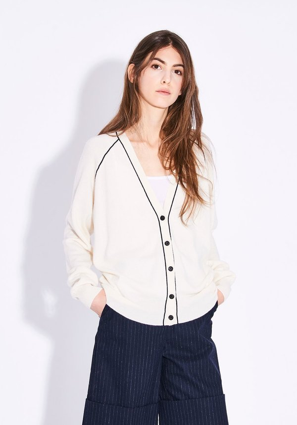 Demy Lee ROBERTA CARDIGAN - WHITE/NAVY