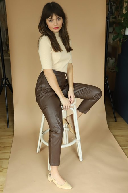 Vintage Adelaide's Homesewn Leather Pants - Brown