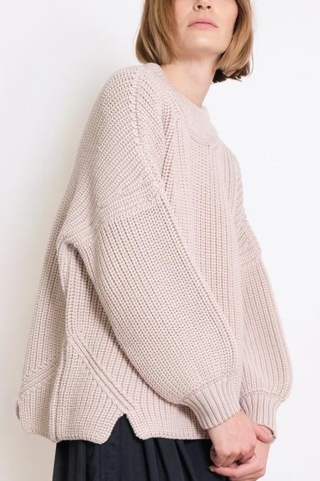 Micaela Greg Notched Hem Sweater - Chalk