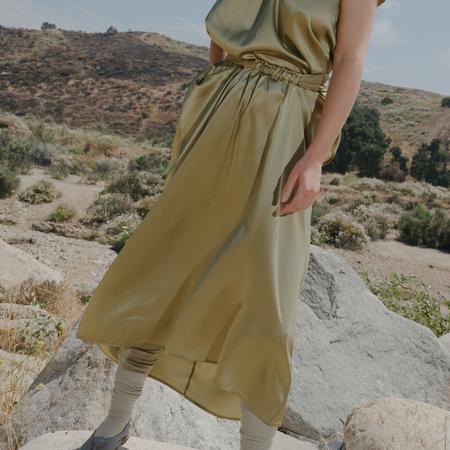Baserange Tenali Silk Satin Skirt - Tao Green