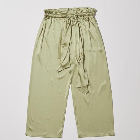 Baserange Tenali Silk Satin Pants - Tao Green