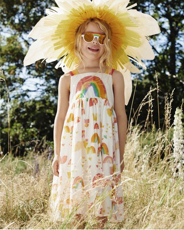 Kids Stella McCartney Sleeveless Paint Rainbow Dress