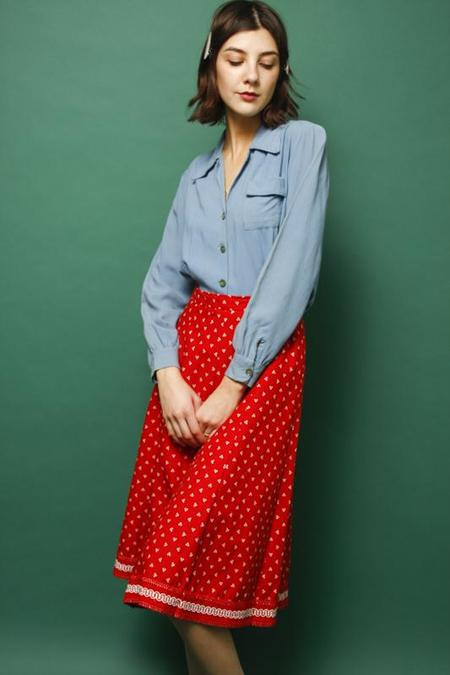 Vintage Ditsy Print Skirt - Red