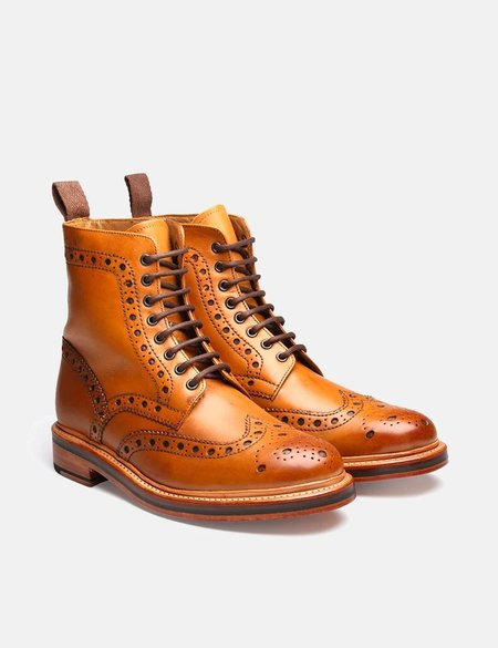 Grenson Fred Calf Brogue Derby Boot - Tan
