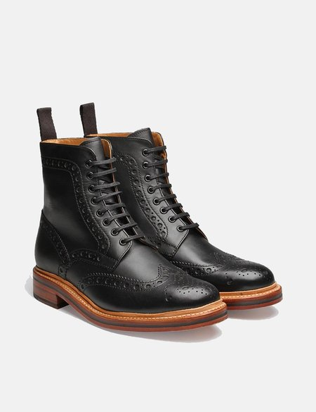 Grenson Fred Calf Brogue Derby Boot - Black