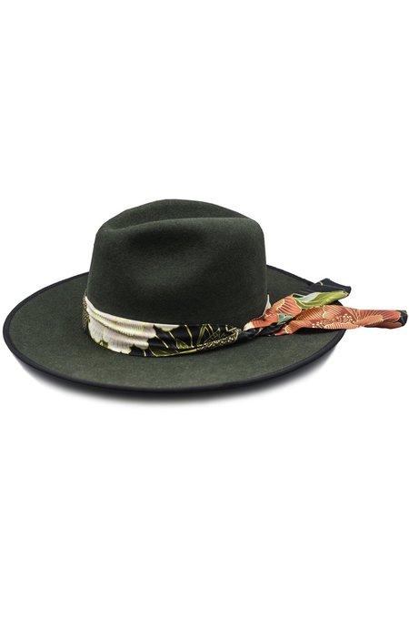 HAMPUI HATS Garden Of Echos Cattleman Hat With Bandanna - FOREST GREEN