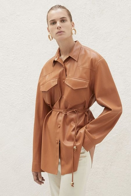 Nanushka Eddy Belted Shirt - Burnt Orange