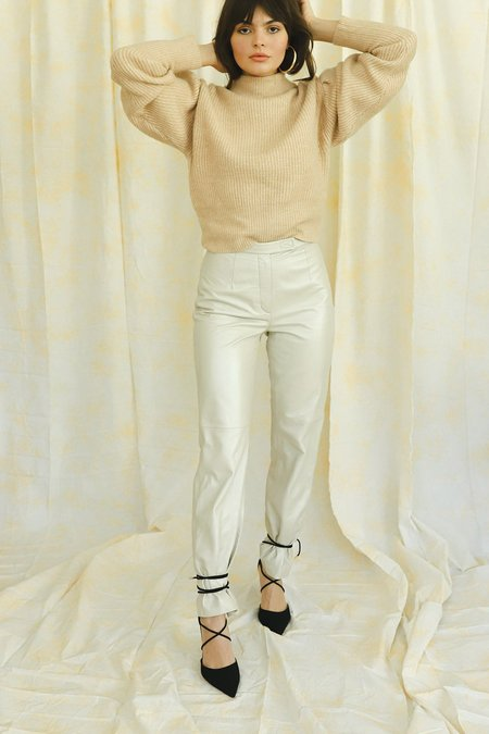 Vintage Shimmer Leather Pants - Champagne