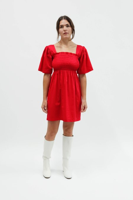 Lisa Says Gah Cotton Satin Toni Dress - Crimson