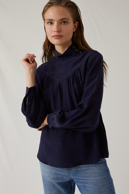 Closed Stand Up Collar Silk Blouse