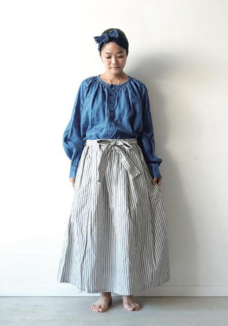 ICHI ANTIQUITES Stripe Skirt - Indigo