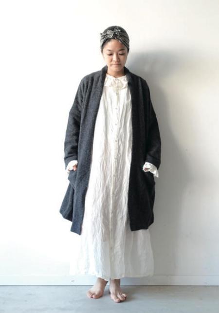 ICHI ANTIQUITES Long Wool and Alpaca Cardigan