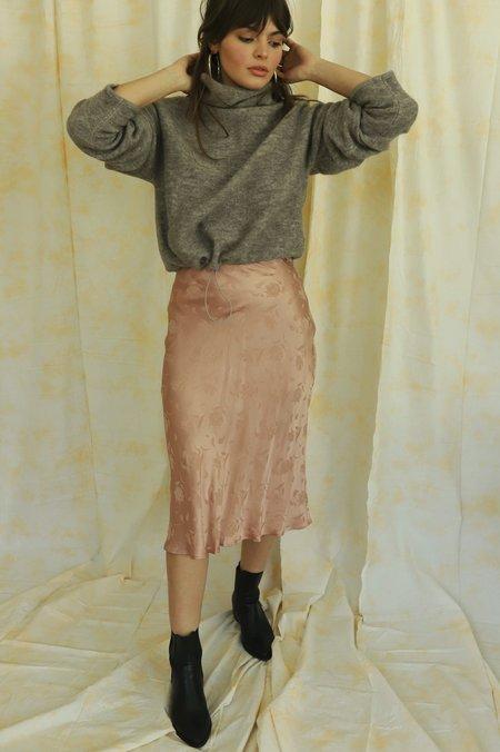Cotton Candy LA Floral Satin Skirt - rose gold