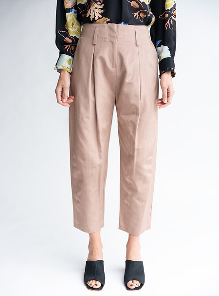 No.6 Hollis Cropped Pant - Biscuit Moire