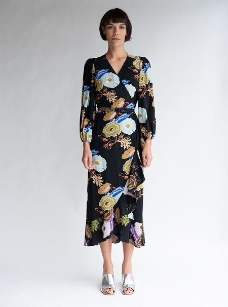 No.6 Silk Noma Wrap Dress - Black/Blue/Lilac Hyacinth