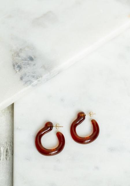 Annika Inez Hand Formed Amber Glass Hoops