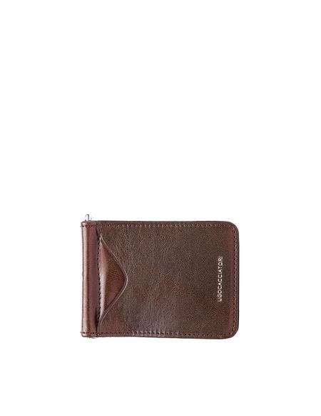 Ugo Cacciatori Leather Clip Card Holder - Brown